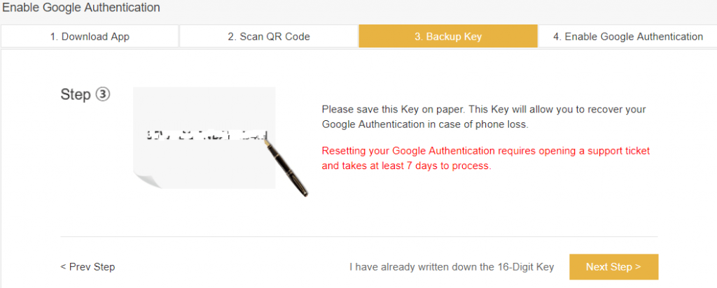 Binance backup key