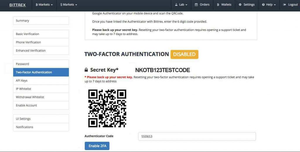 bitrex 2 factor authenticator
