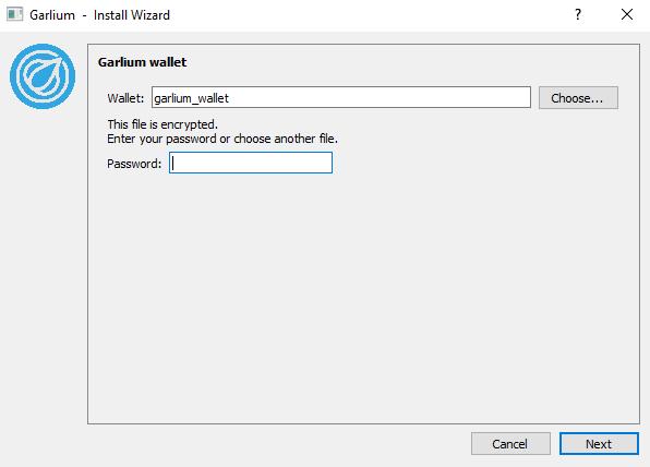 garlium wallet password