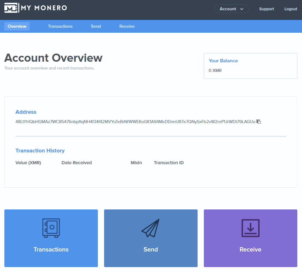 MyMonero account overview screen