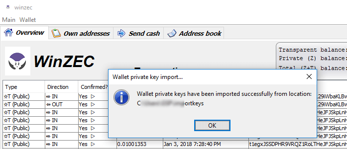Zcash successful wallet import