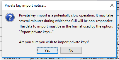 Import private key notice