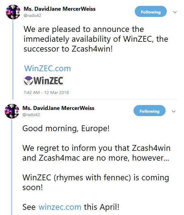 WinZEC announcement