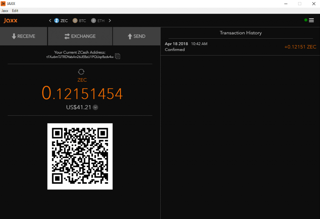 Jaxx wallet interface