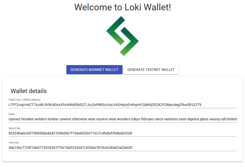 Loki paper wallet