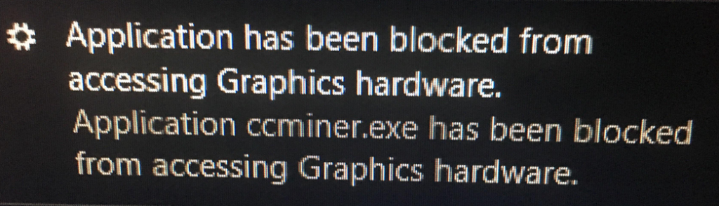 Application blocked from accessing graphics hardware