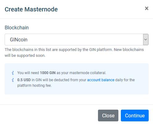GINcoin Masternode platform