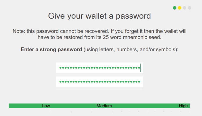 XMR wallet password