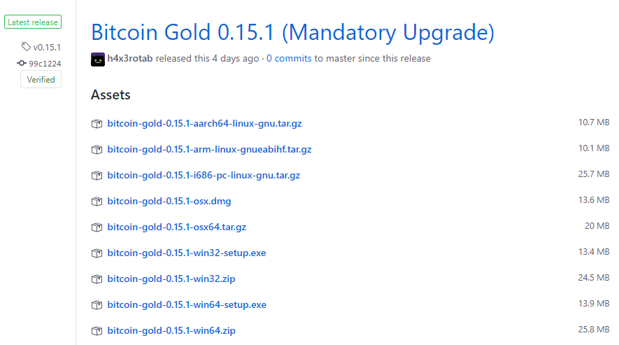 Bitcoin Gold 0.15.1 wallet