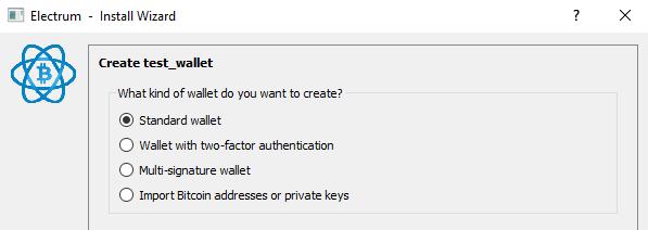 Electrum standard wallet