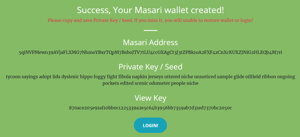 Masari paper wallet