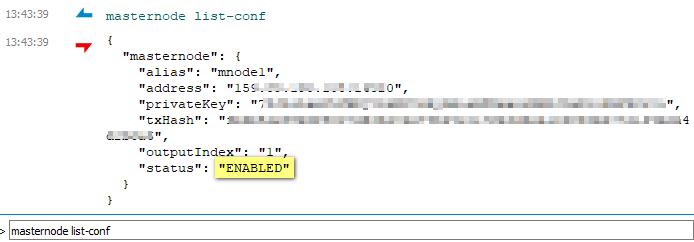 Masternode list conf