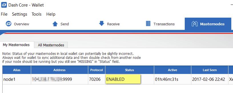 My Masternode status