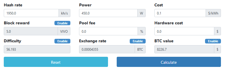 VIVO mining calculator