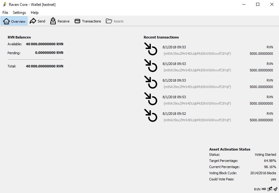 Ravencoin testnet wallet