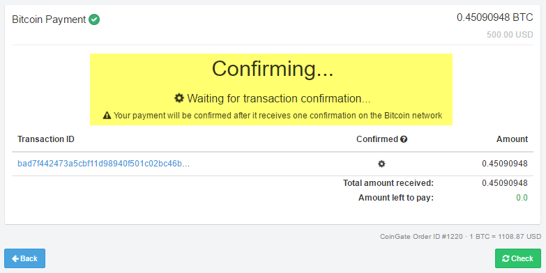 BTC transaction confirming