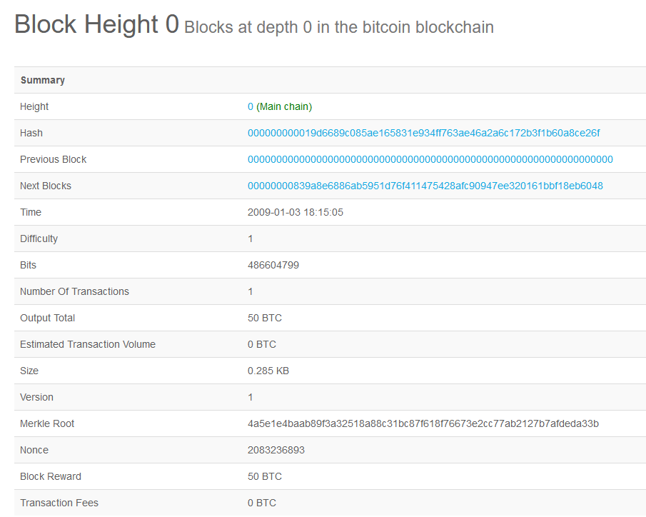 genesis block height 0