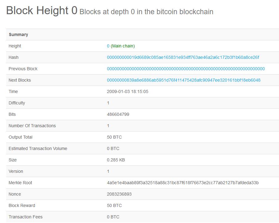 genesis block height 0