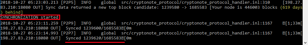 Monero daemon sync started