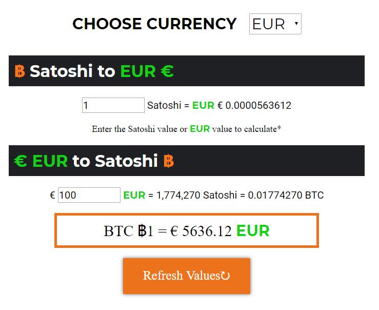 Satoshi price calculator