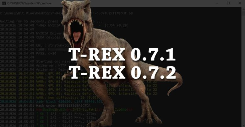 Photo of T-Rex 0.7.1, 0.7.2 NVIDIA miner – SHA256T, TimeTravel & x22i algorithms
