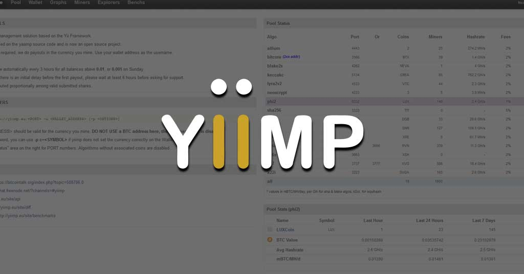 YiiMP mining pool explained - How to mine and list of Yii