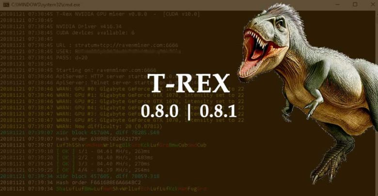Photo of T-Rex 0.8.0, 0.8.1 – New algorithm: Geek & performance improvements on x16r/s