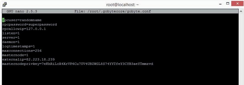 Editing masternode config