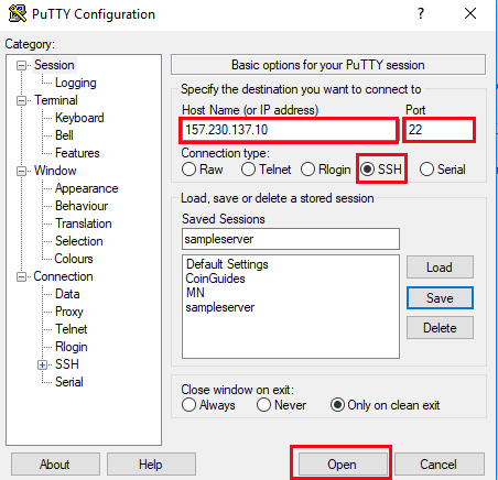 PuTTY server connection