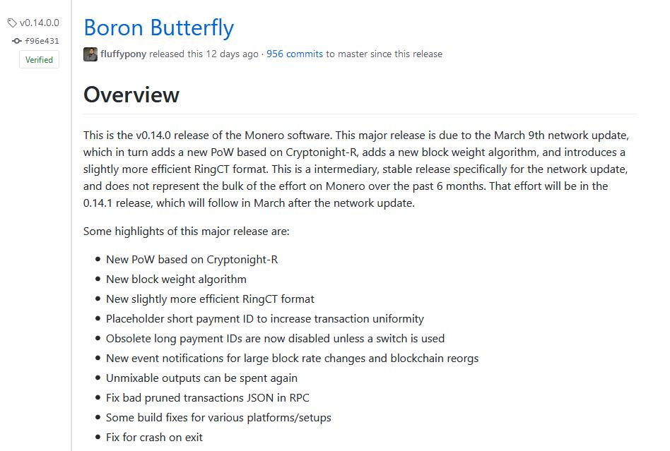 Monero hardfork v 0 14 0 Boron Butterfly - CryptoNight R