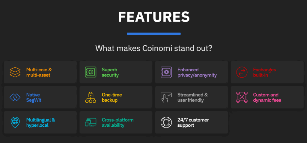 Coinomi features