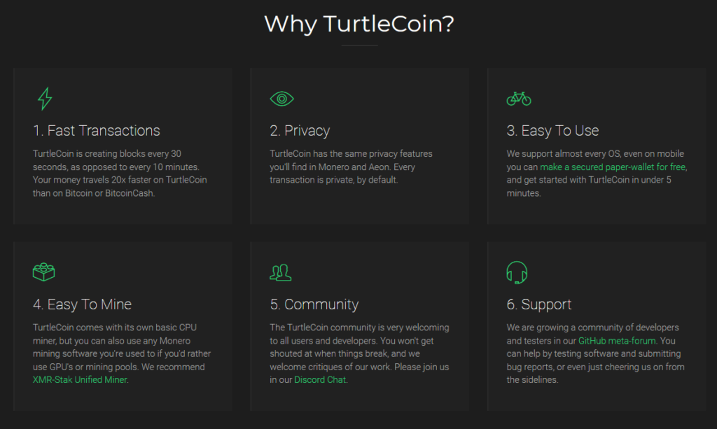 Turtlecoin features