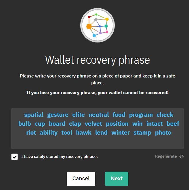 Wallet recovery phrase Coinomi