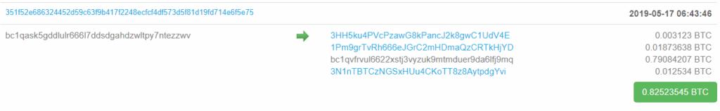 BTC transaction to bc1