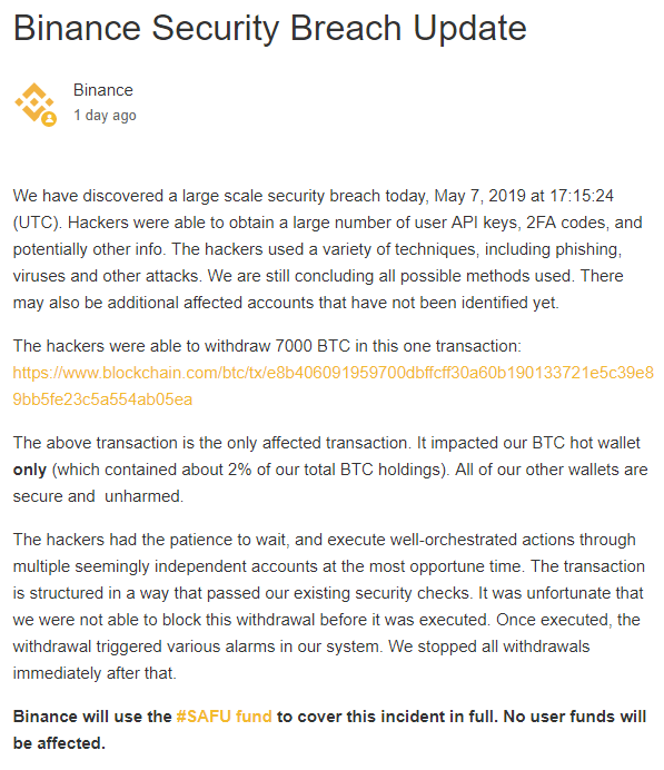 Binance hack report