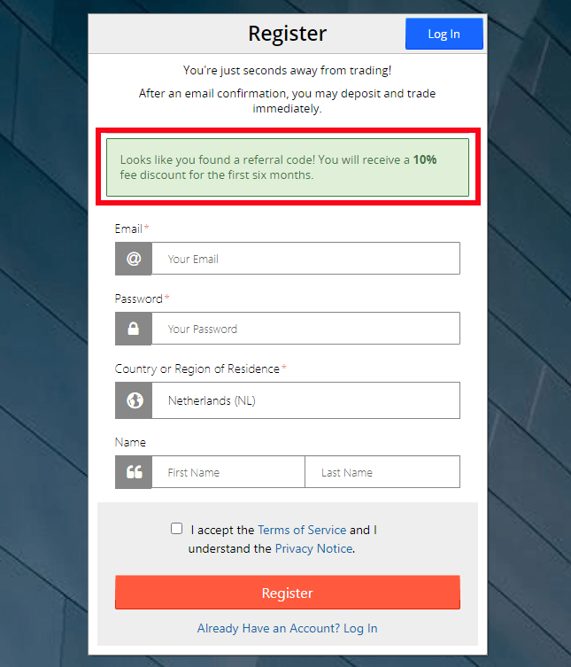 Bitmex referral bonus applied
