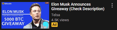 Elon Musk crypto giveaway