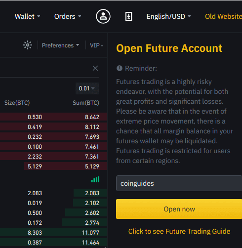 Binance futures account signup