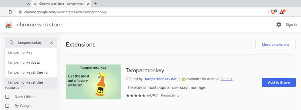 Tampermonkey Brave browser