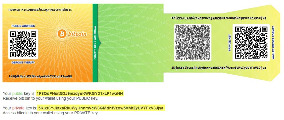 paper wallet keypair