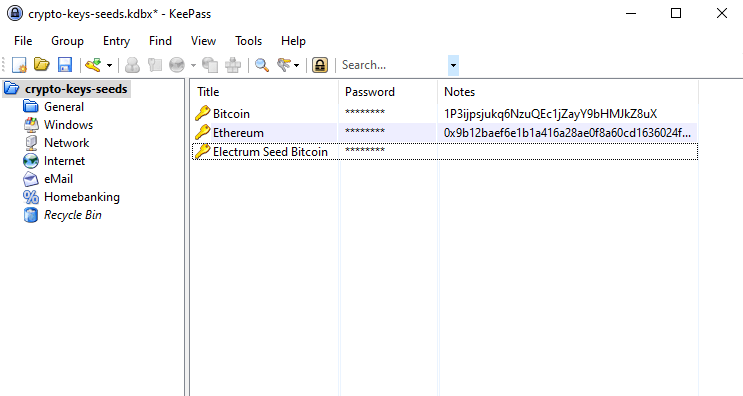 keepass to store private keys / seeds
