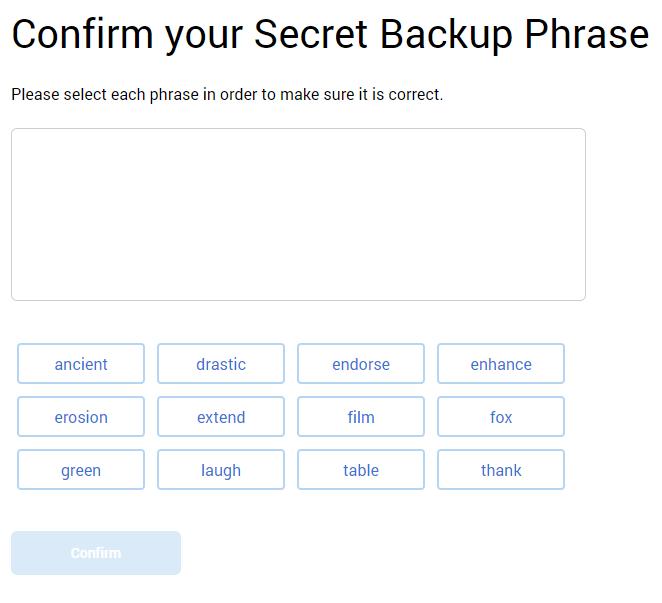 confirm backup phrase
