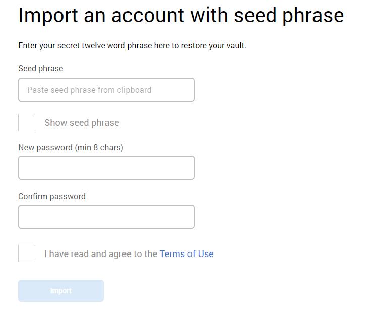 import metamask seed