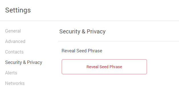 reveal seed phrase