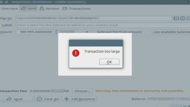 wallet error transaction large