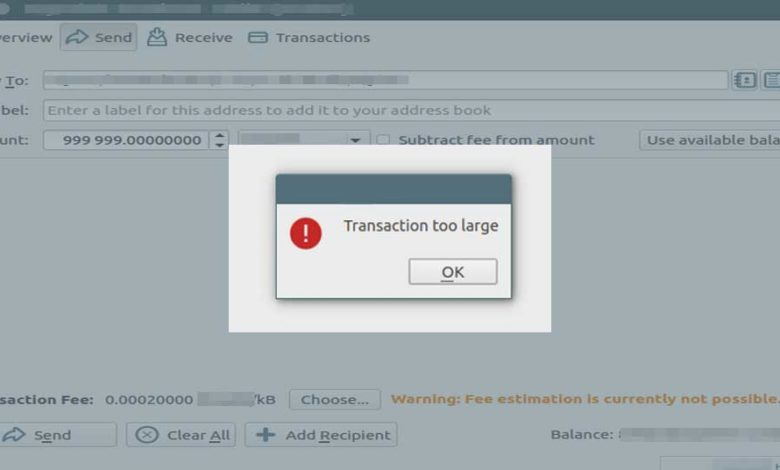 wallet error transaction large