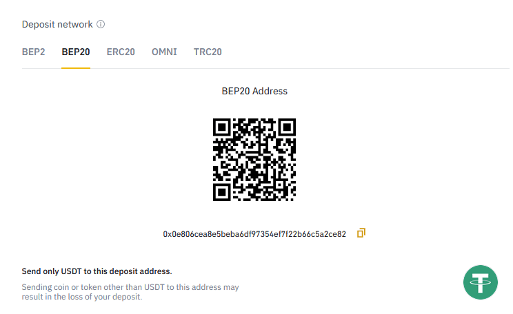 transfer network binance