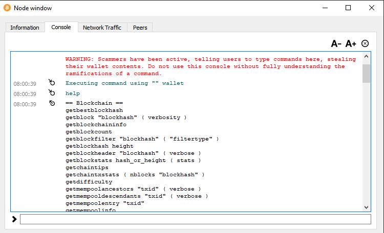 bitcoin core console command list