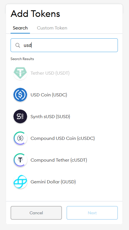search tokens