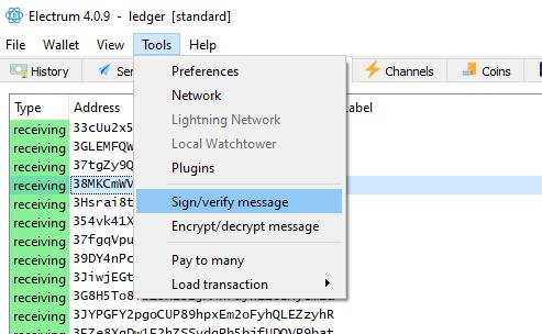 sign verify message ledger